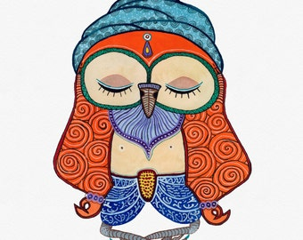 Yogi Sage Owl, Watercolor Art Print, 11x14 inches
