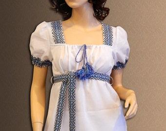 Ukrainian women's blouse. Ukrainian embroidery. Cotton blouse with short sleeves.