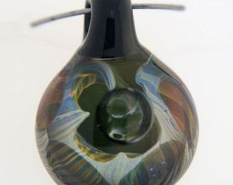Black hole spiral, hand blown, boro glass pendant
