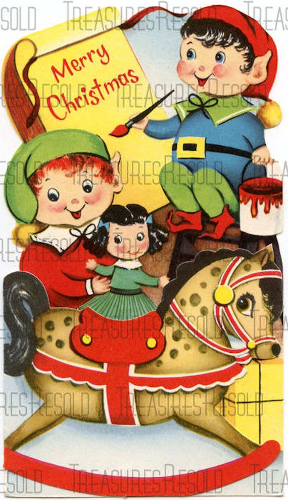 Retro Elves Making Toys Christmas Card 175 Digital Download