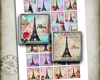 Paris Eiffel Tower Square Images 1.5x1.5 1x1 Printable images for Pendants- Digital Collage Sheet - Instant Download