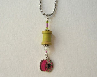 SALE! Hot Pink and Lime Green Spool Necklace, Bobbin Charm, Czech Glass Beads, ball chain, Gift, Hand Enameled, Sewing, Quilting