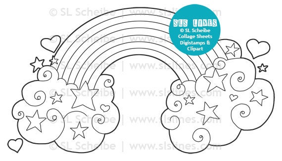 zoom - Coloring Page Rainbow Clouds