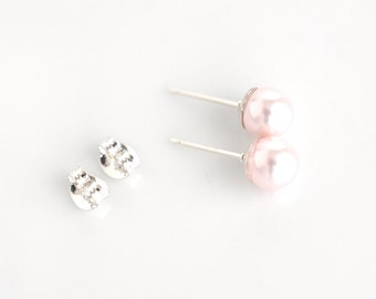Pink pearl small earrings, sterling silver, pearl post stud earrings, pearl jewelry, wedding jewelry, pink tiny studs, gift for her, 6mm