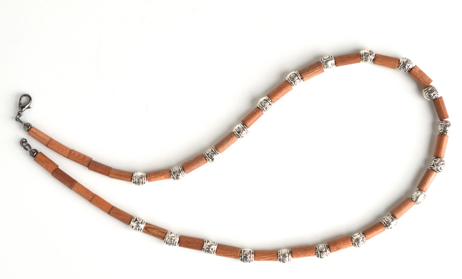 wood bead necklace silver necklace s by