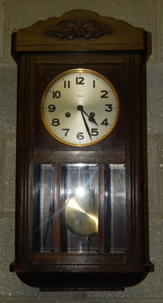 52 Antique Mauthe Regulator Pendulum Wall Clock With Wooden