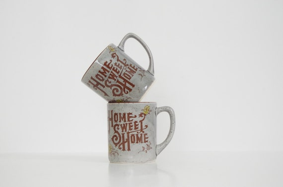 Home Sweet Home vintage mugs from Etsy shop SimpleTreasury