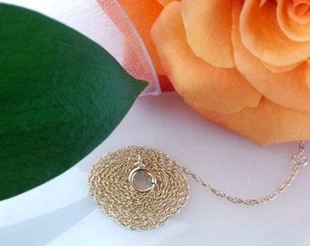 "14kt white gold rose gold yellow gold solid gold 1mm carded rope chain 14"" 15"" 16"" 18"" 17"" 19"" 20"""