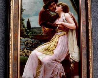 Stunning Early 1900's Lovers Print in original Ornate Frame, Hollywood Regency