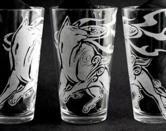 Okami Amaterasu Engraved Drinking Glass