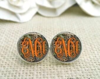 Monogram Camoflauge Earrings, Camo and Orange Earrings, Mossy Oak Earrings, Personalized Camo Earrings, Camoflauge Jewelry