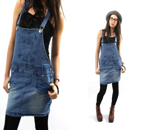 skirtall sarafan blue denim overall jean dress grunge sarafan