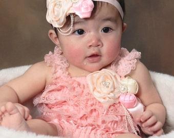 Baby Pink Lace Petti Romper Headband Set, Newborn Romper, Infant Lace Romper, Baby Girl Romper