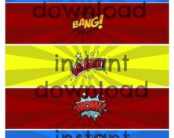 Instant Super Hero Comic Speech Words Water Labels Printable File PDF Super Hero Birthday