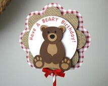Teddy Bear Picnic Centerpiece Have A BEARY Birthday Brown Bear Decorations Happy Birthday Gingham Red Decor Teddy Bear Birthday Rustic