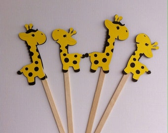 Giraffe Cupcake Toppers 6 Count. Baby Shower. Children Party Decoration. Giraffe Theme Party.