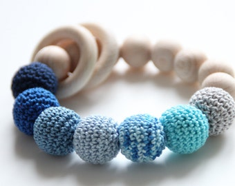 Blue Teething Baby Toy with rings - Bracelet / Natural Wooden Teething Toy
