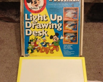 Vintage 1970s Light Up Drawing Desk Mickey Mouse - works