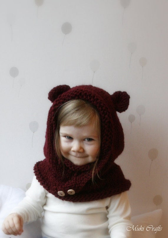 Knitting Pattern Hood With Ears : KNITTING PATTERN hooded cowl Rowan with round ears and inner