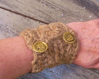 Jute Cuff/Bracelet with Metal Shank Buttons