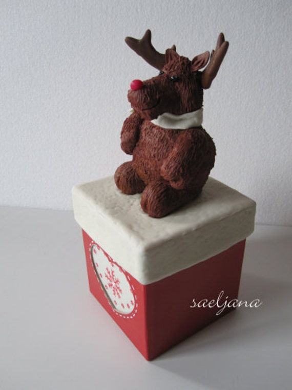 BOX MOMENTUM reindeer caribou moose... porcelain cold saeljana, for winter, for Christmas! With LEDs, for the office, the entrance, the room!
