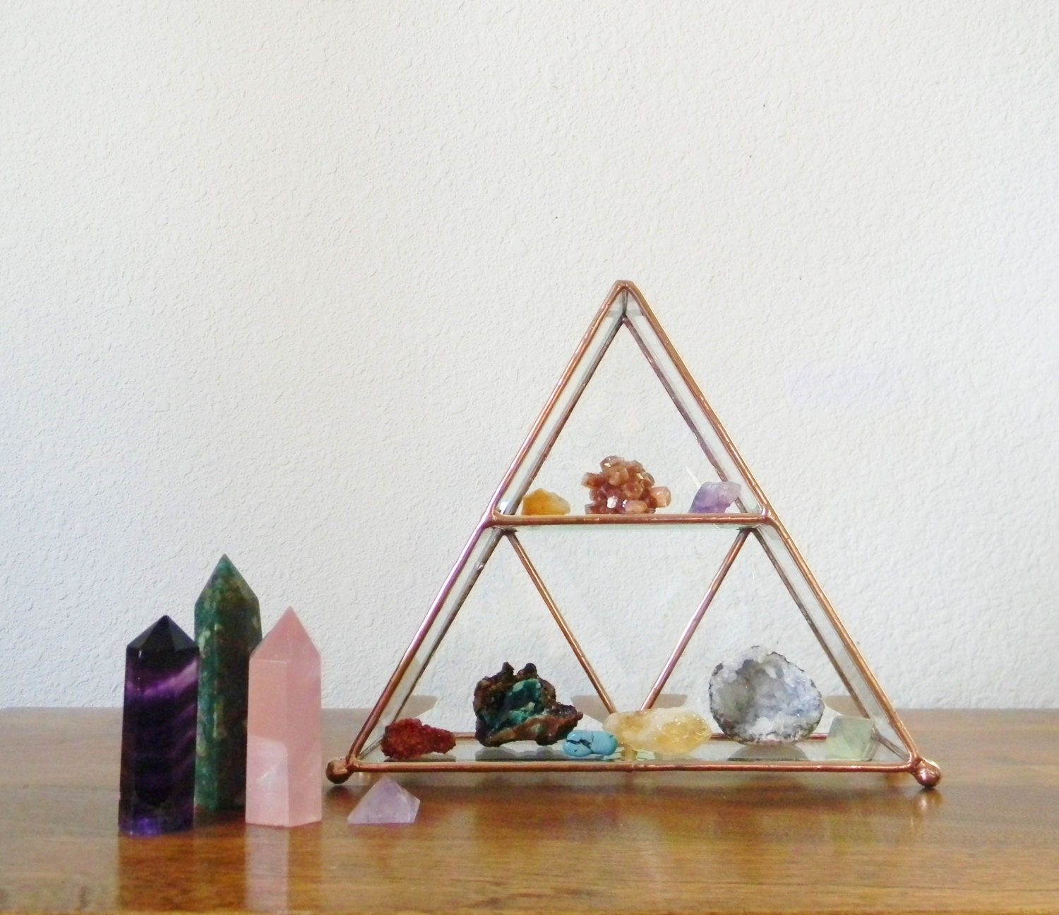 Make An Eye Catching Jewelry Stand From Plumber S Copper: Stained Glass Display Shelf In Copper Made To Order