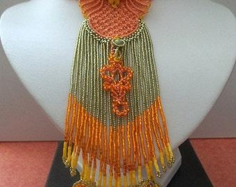 "Necklace ""Fire bird"". Micro macrame, beads."