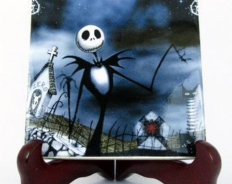 Jack Skellington from The Nightmare before Christmas, collectible ceramic tile, handmade in Italy, Tim Burton art, christmas gift idea, m51