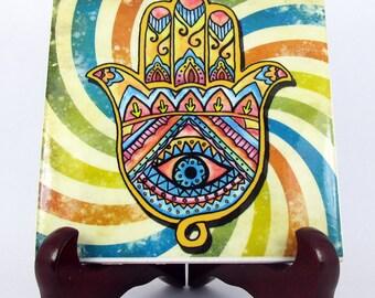 Hamsa - collectible ceramic tile - handmade - evil eye - khamsa - protection - luck - gift idea
