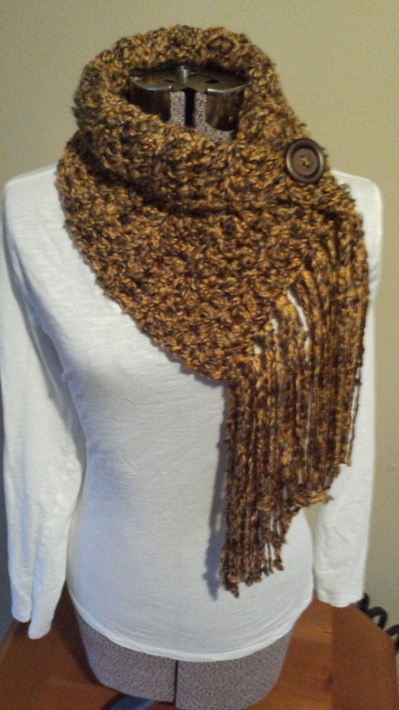Items similar to Fringe Scarf with Button, Infinity Scarf ...