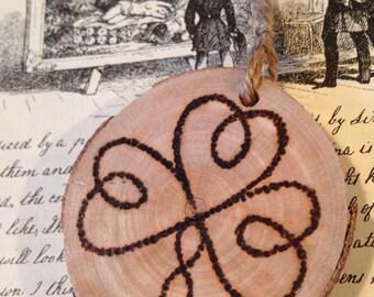 Triple heart, pyrography on beech wood hanging ornament decoration, keepsake, gift