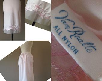 S / 1960's Half Slip / Skirt Extender / Pink Nylon & Chiffon / Vintage Shapewear Lingerie by Van Raalte / Small / FREE USA Shipping