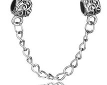 Intricately Textured Metalwork Chain Link Charm - Lock Charm** -Fits Pandora Bracelet and All other European Bracelets