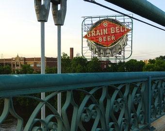 Grain Belt, Beer Billboard, Nicollet Island, Hennepin Avenue Bridge, Minneapolis, Minnesota - Travel Photography, Print, Wall Art