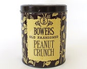 Vintage Candy Tin. Bowers Old Fashioned Peanut Crunch. Brown & Cream. Flowers. Foliage. One Pound. Collectible. Farmhouse Kitchen Rustic [5]
