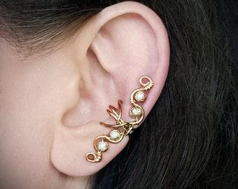 Gold Ear Cuff 24K Gold Plated Swirly Ear wrap Gold Glitter Beads