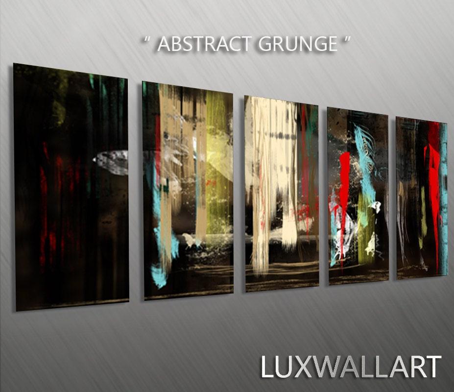 dark grunge painting style wall art multi panel