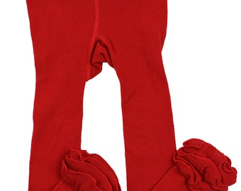 Red Ruffle Leggings/ footless tights
