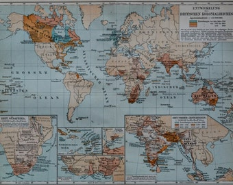 British colonization map. Old book plate, 1904. Antique  illustration. 111 years lithograph. 9'6 x  11'9 inches.
