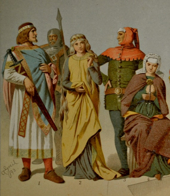 Middle Ages clothes print. History engraving. 1901.Old book plate. 113 years color  lithograph.9'6 x6'2 inches.