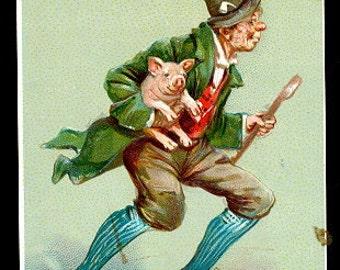 Tucks St. Patricks Day Lad Running with Pig 1907 Postcard