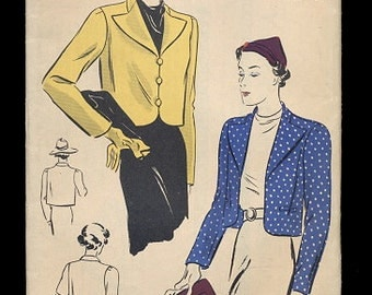 1940s Vogue 7625 Short Box Jacket  Size 20 Pattern