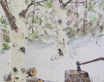 watercolor painting,art,woods landscape, winter scene painting,birch tree painting,birch trees,forests,tall trees,original watercolor art