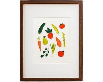 Vegetables & Fruits Print, Kitchen Decor, Veggies, Home Decor, Wall Art, Art Print, Nursery