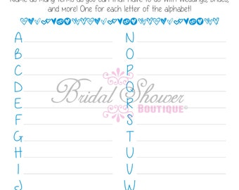 A-Z Everything Weddings Alphabet Bridal Shower Game BLUE -Fun, Detailed, & Cute!