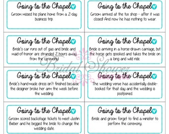 Going to the Chapel Bridal Shower Game TURQUOISE -Fun, Detailed, & Cute!