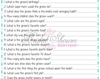 How Well Do You Know the Groom Bridal Shower Game TURQUOISE -Fun, Detailed, & Cute!