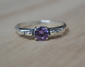 Alexandrite Ring Silver Antique Style Ring Sterling Filigree Art Deco June Birthstone Vintage Style