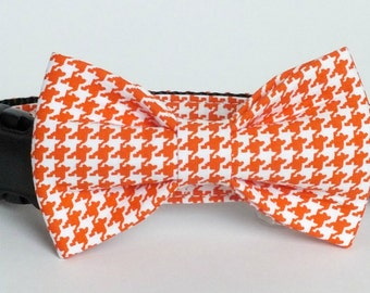 SALE Orange Houndstooth Dog bow tie ONLY, Cat bow tie, pet bow tie, collar bow tie, wedding bow tie