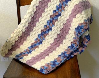 Purple Striped Baby Blanket